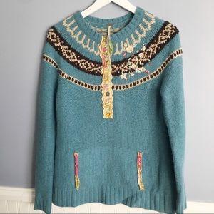 Free People Fair Isle Embellished Sweater